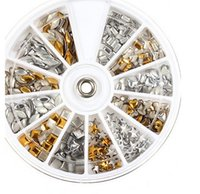 beauty supply jewelry - 1200pcs nail art decorations mixed shape rivets nail supplies diy jewelry wheel gold and silver nail decoration patch beauty