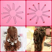Wholesale 20pcs Bobby Pins Bridal Hair Accessories Red White Pearls Wedding Hair Pins U Shape Pin Up For Wedding Brides Girls Tiaras Accessory