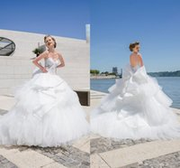 Wholesale High end Couture Wedding dresses With White Sweetheart Sleeveless Open Back Applique Bow Sash Sweep Train Bridal Gown