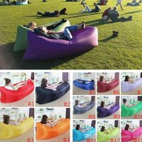 Wholesale 250 cm Fast Inflatable Air Sofa WITH POCKET Camping Sofa Beach Sleeping Bag Air Mattress Outdoor Hangout Air Bed COLOR PPA205