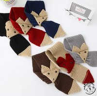Wholesale 6 Colors Winter Fox Scarf Kids Boys Girls Knitted Neck Wraps Scarves Children Knitting Neckerchief Kids Crochet Scarf Accessories PPA539