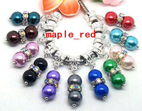 Wholesale 100pcs Beautiful mixed Silver Plated Round Rhinestone Imitation Pearl Beads mm Charms Dangles fit European Bracelet Necklace DIY
