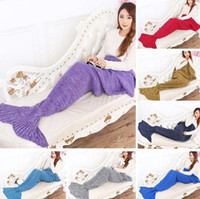 Wholesale Mermaid Blanket Tail Crochet Super Soft Warmer Blanket Bed Sofa Sleeping Costume Air condition Knit Blanket LJJL166