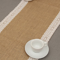 Wholesale 30x275cm Rustic Burlap Lace Hessian Table Runner Natural Jute For Wedding Decoration x108 quot