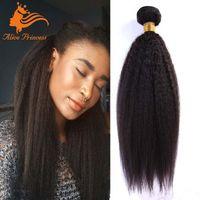 al por mayor rizado cabello tejido grueso-7A cabello recto Kinky pelo peruano Paquete grueso Yaki pelo humano 3pcs / Lot Tejido recto Kinky