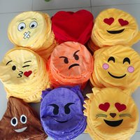 Wholesale Emoji poop Pillows skins Cushion Cute Lovely Emoji Smiley Pillows Cartoon Cushion Pillows Yellow Round Pillow Plush Toy HHA1003