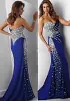 Cheap 2016 New Tarik Ediz Crystal Evening Dresses Sweetheart Beading Mermaid Floor Length Royal Blue Modest Prom Pageant Party Gowns Cheap Custom
