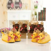 Wholesale New Christmas elk slippers Winter warm woman man cartoon D plush slippers shoes deer Home shoes