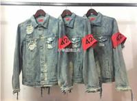 Cheap KMO 424 punk brand clothing kanye west hip hop korean distressed denim jean jacket men clothes coat women S-XL cool jackets