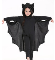 bat glove - Unisex Children s Siamese Pants Bat Costumes Halloween Stage Performance Uniform Temptation Black Cap Boys And Girls Can Milk Silk Gloves