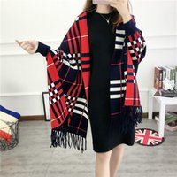 Wholesale ms Autumn winter fashion shawl Knitting tassel wool plaid shawl Autumn winter fashion shawl Cardigan women s cashmere batwing coat cm