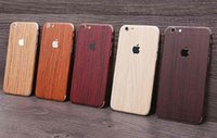 apple design stickers - Luxury Wood Grain Design Full Body Sticker Case Cover For Apple Iphone S Plus samsung S6 S7 edge