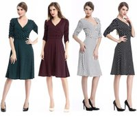 america on line - In The New In Europe And America Fashion V neck Career Put On A Large Zipper Polka Dot Dress Fashion Party Dress B