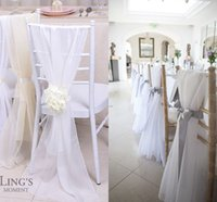 Wholesale Lovely Ivory Chiavari Chair Sashes d Chiffon cm cm Custom Made Wedding Chair Covers DIY Chair Bows