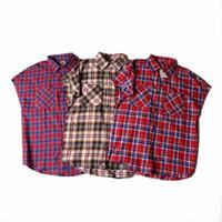 Wholesale Men casual side zipper plaid shirt hip hop sleeveless shirts mens justin bieber clothing fear of god overhemd camisa masculina