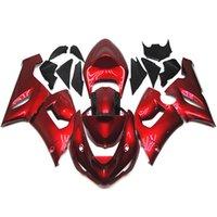 achat en gros de plastiques zx6r-Carénages de moto pour Kawasaki Ninja ZX-6R ZX6R Année 05 06 2005 2006 Kit de carénage en plastique ABS Sportbike Carénage de carrosserie Cowling Pearl Red