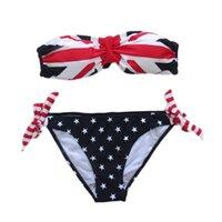 Wholesale Factory Free DHL Summer Sexy Women Stars And Stripes UK Flag Bikini Padded Bandeau Swimsuit Swimwear beach home pool swimming