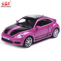Wholesale 1 Model Cars Diecast Car Model Scale Toy Trucks Alloy Car Glow Speaker Pull Back Car Kids Toys Gift Items Volkswagen Beetle GSR