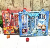 Wholesale Children Stationery Sets Pencil Case Student Study Supplies Cartoon Spider Man Frozen Stationery Bag Kids Learning Toys Christmas Gifts