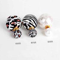 Wholesale New Elegant Korea Fashion Leopard Zebra Stripe Printing Double Side Imitation Pearl Ear Stud Earrings DHE769