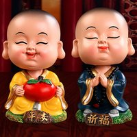 Wholesale Car shook his head the young monk doll interior furnishing articles Lovely maitreya resin handicraft creative household furnishing articles