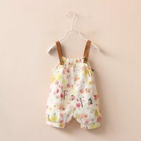 Wholesale Girls Bib Summer girls cartoon owl printed rompers female baby Linen Five points pants