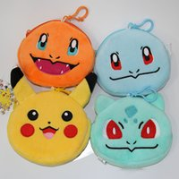 al por mayor monederos xl-Poke Coin Purses Niños Poke Go Wallet Bag Niños Cartoon Poke Ball Pikachu Jeni Tortuga Bulbasaur Charmander Llavero Purse 4 Estilos XL-P190