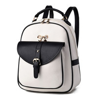 Wholesale Splice bow women leather backpack Hit color feminine school bags for teenagers rucksack Leisure knapsack backpacks travel