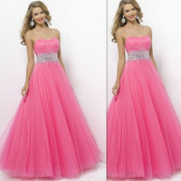 Wholesale Pageant Dresses For Teens Pink Strapless Crystal Beaded Prom Gowns A Line Long Tulle Special Occasions Dress