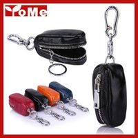 Wholesale High Quality Women and Men s Oil Wax Genuine cow Leather Key Holder Zipped Key Pouch Keychain Auto Car Key Case Bag YK8612