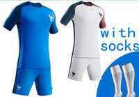 Wholesale New Euro France soccer Jersey long blue top maillot foot BENZEMA Pogba Soccer Jersey