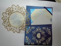 Wholesale Gold and blue wedding invitation laser cut tri fold wedding invitation laser cut invitation thank you card gold and blue foil printing