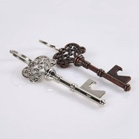 Wholesale Creative Portable Beer Bottle Opener Keychains Vintage Skeleton Keys Openers Key Chains Rings Bar Tool Random Color