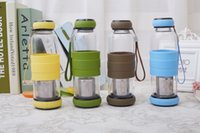 Wholesale 450ml High Borosilicate Glass drinking Water Bottle with Stainless Steel Tea Strainer Model NO SH A