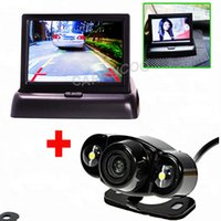 Wholesale Auto Parktronic System Night Vision Rear View Camera Car Backup Reverse Camera Back Kind With inch Car Flodable Monitor Security LED