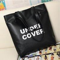 american shopper - women leather black handbags over shoulder shopper messenger bags letter European and American Style Casual big sling bolsas