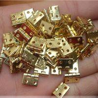 Wholesale 20 Mini Cabinet Drawer Butt Hinge Copper Gold Small Hinge Small Hole Copper Hinge With Screws