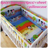 baby cots - Promotion Mickey Mouse Children Baby Cot Bedding Set Baby Crib Bedding Set bumpers sheet pillow cover