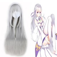 amelia grey - 80cm cosplay womens wig Different world from scratch Amelia anime wigs grey long synthetic cosplay wigs braids inch