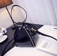 Wholesale Korean Newly Fashion Pyramidal Handbag Patent Leather Inclined Shoulder Bag Black NS16060106