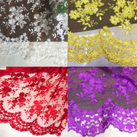 Wholesale 2016 High end fashion French Lace Fabric High Quality African Tulle Embroidered flower transparent net Lace Fabric For Wedding