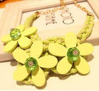 Wholesale fashion ladies necklace yellow rose red Korean wood flower pendants woven necklace welcome to sky2012 shop buy
