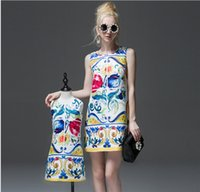 Wholesale Mother and Daughter Matching Dress Summer Mom and Girls Floral Print Dresses Fashion Kids Sleeveless Dress for Children Clothing Retail