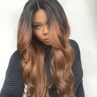 average size human - Glueless Ombre Human Hair bT30 Body Wavy Middle Part Lace Front Human Hair Wigs with Natural Hairline Full Lace Wigs in Stock