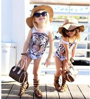 Wholesale ins popupshop net summer tiger pattern Boys Girls baby vest swimsuit Girls swimming clothes E219
