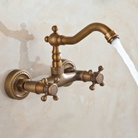 Wholesale 4 quot Bathroom Basin Faucets Antique Brass Mixer Tap Wall Mounted Faucet WA