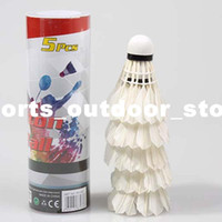 Wholesale 5Pcs Training Badminton White Regenerative Head Duck Feather Badminton Shuttlecocks H10532
