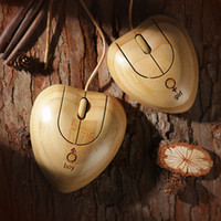 bamboo computer mouse - Handmade Lovers Heart Shape Bamboo Mouse Set Wooden USB Optical Mice wood Twins heart bamboo Wired mouse Creative gifts for Computer Laptops