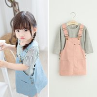 animal freshness - Cute Baby Girls Tiny Freshness Sets Two Pieces Of Print Striped And Animals Cotoon Top Solid Color Suspender Dress