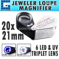 Wholesale GM21 Mini X Magnification Foldable Foldaway Jeweler Loupe Magnifier LED UV light mm Triplet Optical Glass Lens